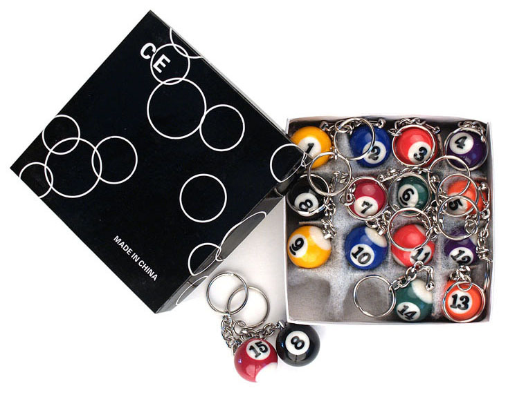 BB10  Pool Ball Key Ring Set